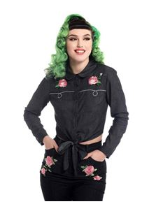 Collectif Samantha Black Rockabilly Rose Tie Blouse