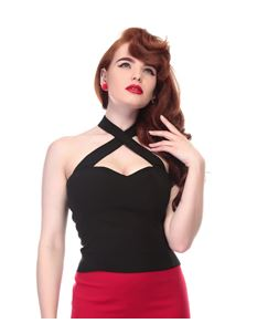 Collectif Vintage Pin Up Style Penny Black Top