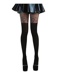 Pamela Mann Pentagram Over The Knee OTK Opaque Sheer Tights Black