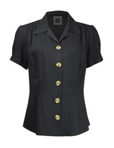 Pretty Retro 40s Style Black Blouse
