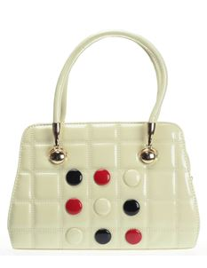 Poisoned Button Vintage Style Bowling Bag Cream