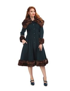 Collectif 30s 40s 50s Petrol Blue Pearl Swing Coat
