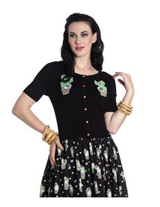 Hell Bunny Cactus 50s Cropped Short Sleeve Cardigan