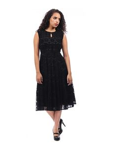 Collectif 20s 30s Astrid Black Velvet Devore Dress