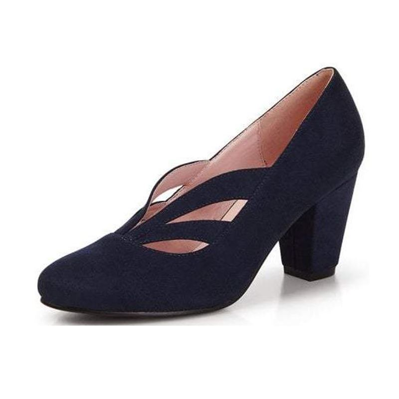 Collectif Layla 40s WW11 High Heel Navy Suedette Shoes