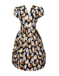 Silly Old Sea Dog 1950s Black Bulldog Dress
