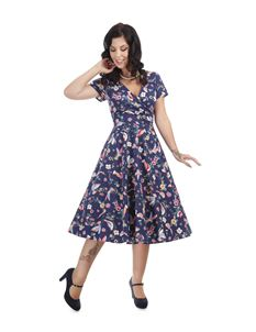 Collectif Maria Charming Blue Bird Summer Swing Dress