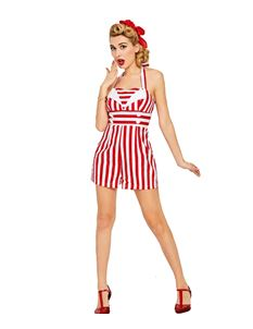 Foxy Roxy Retro Red & White Nautical Playsuit