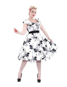 Hearts & Roses 50's Imitation White Black Floral Dress