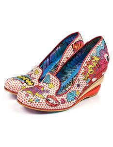 Irregular Choice Wow Pow Wedge Shoes In White & Red