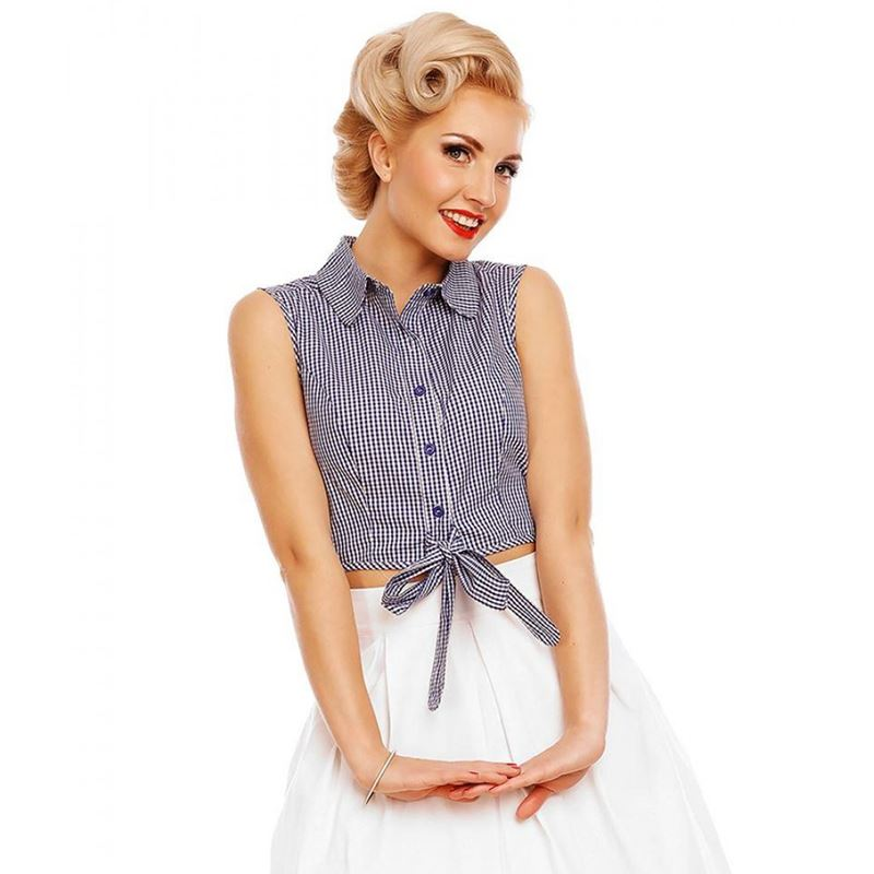 Dolly And Dotty 50s Blue White Gingham Tie Waist Blouse