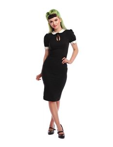 Collectif 40s 50s Khloe Plain Black Pencil Dress