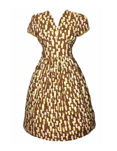 Silly Old Sea Dog 1950s Brown Ice Cream Dress