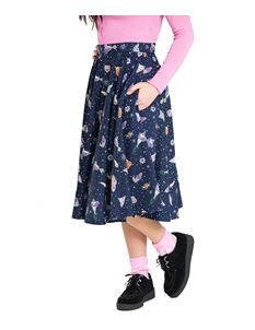 Hell Bunny Atomic Spaceships Aliens Navy Blue 50s Skirt