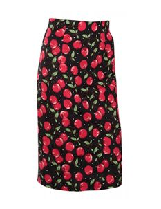 Dolly & Dotty Black & Red Cherry 50s Pencil Skirt