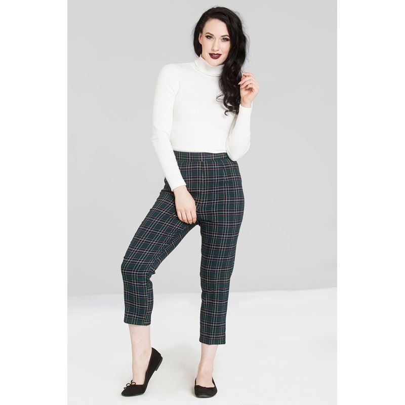 Hell Bunny Peebles 50s Cigarette Green Tartan Trousers
