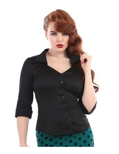 Collectif Mona 50s Vintage Style Black Sleeved Shirt