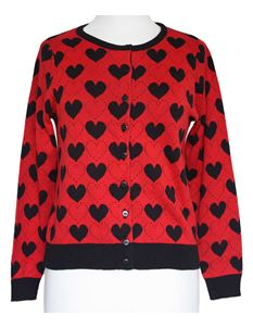 Friday On My Mind 50s Style U Neck Red Heart Cardigan