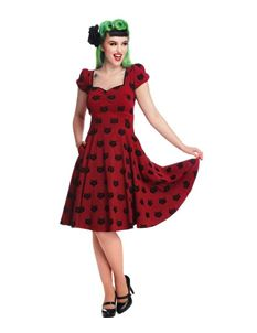 Collectif 50s Mimi Burgundy Velvet Black Cat Doll Dress