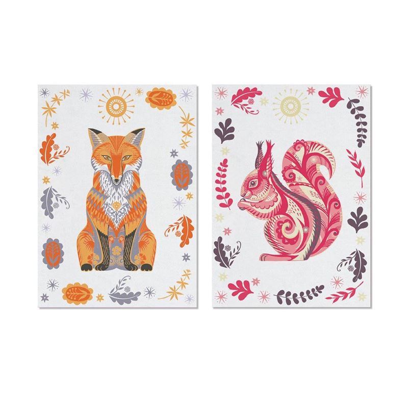 Magpie Wildwood Fox & Squirrel Pack of 2 Tea Towels