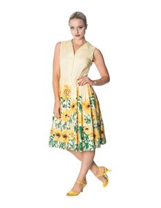 Dancing Days Sunflower 50s Style Floral Shirt Dress