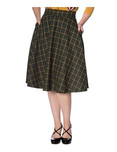 Banned Retro Ladies Day Check Green 50s Skirt