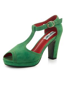 Collectif Jinny T-bar Green High Heels