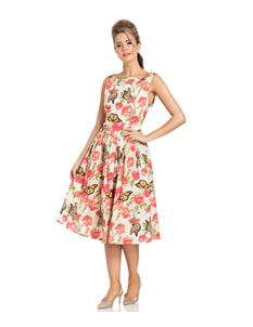 Voodoo Vixen Laura Butterfly & Peonie Pleated Dress