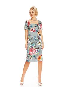 Dolly & Dotty Daisy Blue Floral Pencil Dress