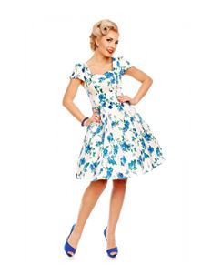 Dolly & Dotty Claudia White And Blue Floral Dress