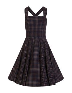 Hell Bunny Peebles Vintage Navy Tartan Pinafore Dress