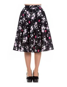 Hell Bunny Belinda Black Floral 50s Style Circle Skirt