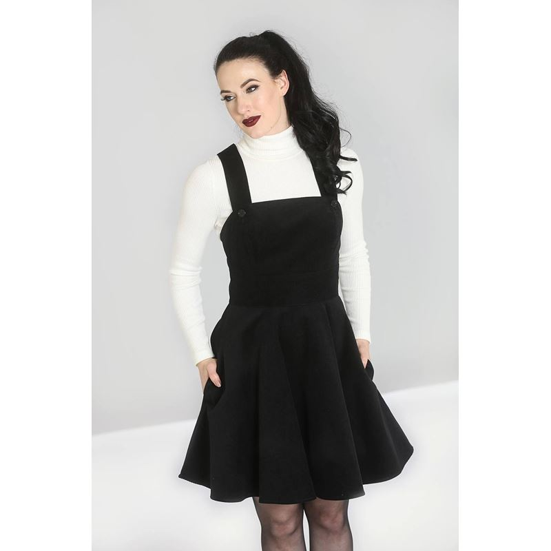 Hell Bunny Wonder Years Corduroy Mini Pinafore Dress