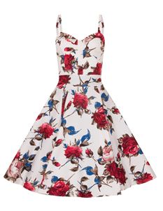 Bettie Vintage Audrey Pink Retro Roses Swing Dress