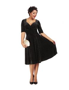 Collectif Trixie Black And Gold Polka Dot Doll Dress