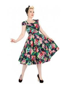 Hearts And Roses 50s Lucille Navy Blue Floral Tea Dress