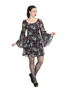 Hell Bunny Tarot Cards Mini Alternative Chiffon Dress