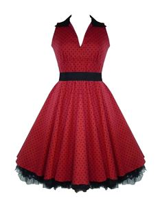 H&R London 50's V-Neck Polka Dot Prom Dress Red