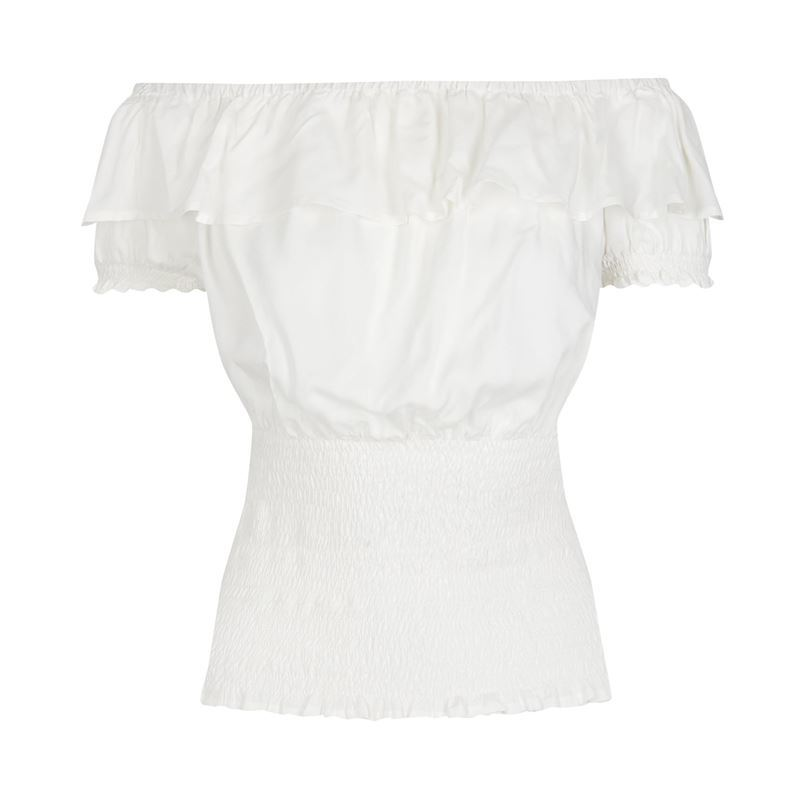 e58f515758 Collectif Vintage Bebe 50s Style White Gypsy Top