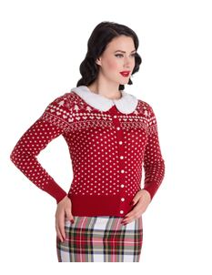 Hell Bunny Red White Christmas Holly Tree Cardigan