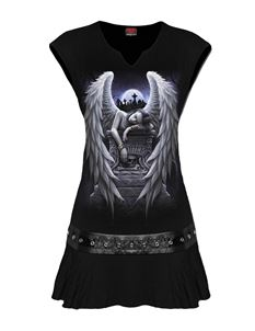 Spiral Direct Inner Sorrow Stud Waist Mini Tunic Dress