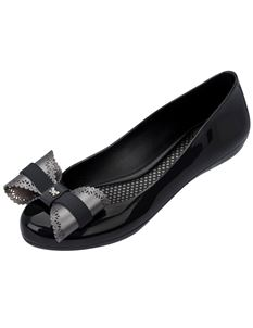 Zaxy Pop Charm Bow Black And Pewter Flat Shoes
