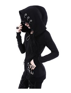 Restyle Eyelets Hoodie Alternative Goth Black Hoody