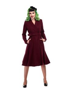 Collectif 40s 50s Style Wine Red Dawn Swing Coat