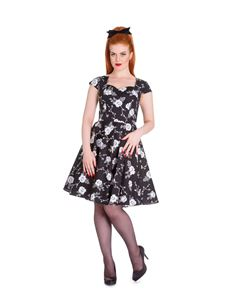 Hell Bunny Natalia Floral Rose Dress Black
