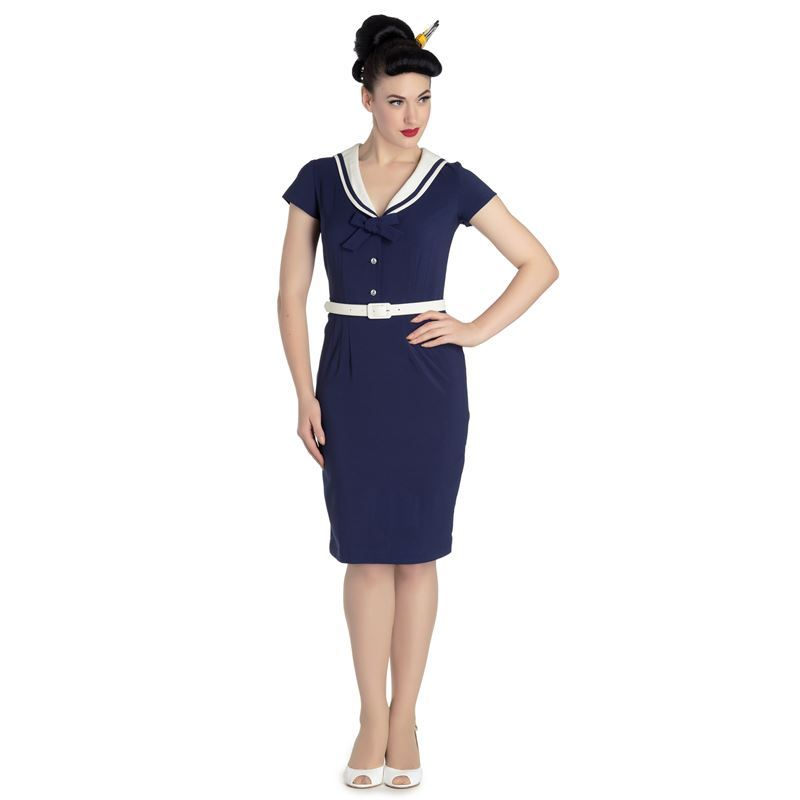 ba1449d70 Hell Bunny 50's Yvonne Sailor Wiggle Pencil Dress Navy Blue & Ivory