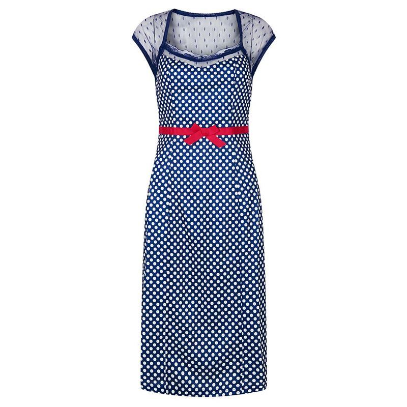 Friday On My Mind 1950s Inspired Polka Dot With Blue Lace Wiggle Dress