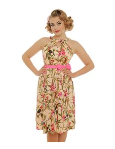 Lindy Bop Cherel Tropical Bird Print Dress Pink Belt