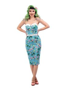 Collectif Monica Tropical Flamingo Blue Pencil Dress