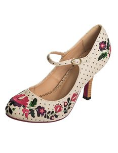 Dancing Days Kalocsai Floral Polka Dot 50s 40s Shoes